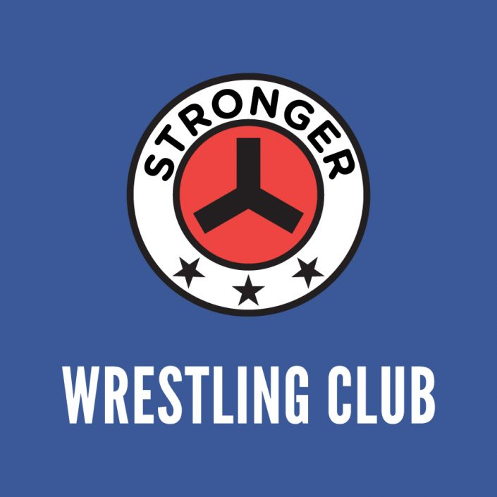 stronger fitness and martial arts logo on blue background with wrestling heading